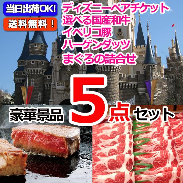 東京ディズニーリゾートペアチケット&選べる国産和牛&イベリコ豚他豪華5点セット (15044)