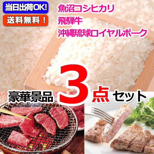 魚沼産コシヒカリ&飛騨牛焼肉&沖縄三元豚豪華3点セット