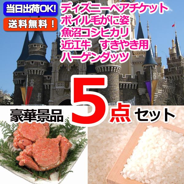 東京ディズニーリゾートペアチケット&毛がに&魚沼産コシヒカリ他豪華5点セット  (15234)
