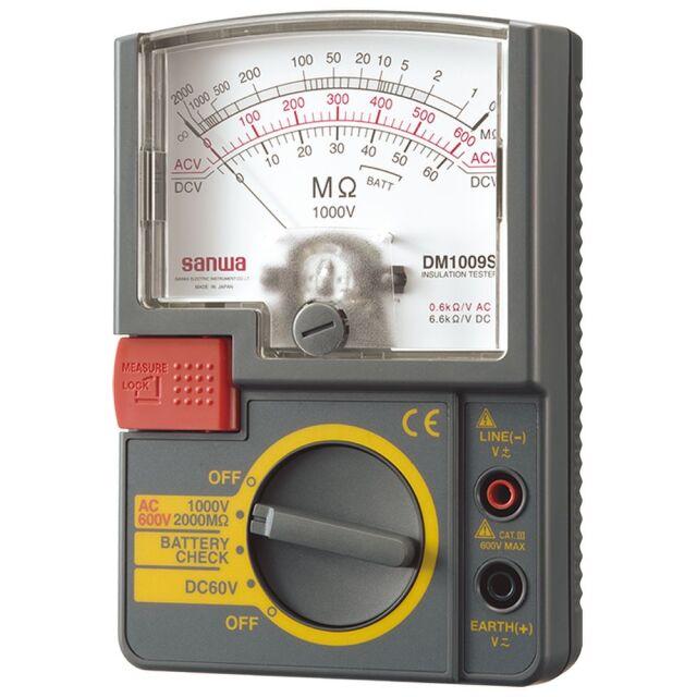 三和電気計器 絶縁抵抗計 1000V/2000MΩ 単レンジ式 軽量設計 DM1009S