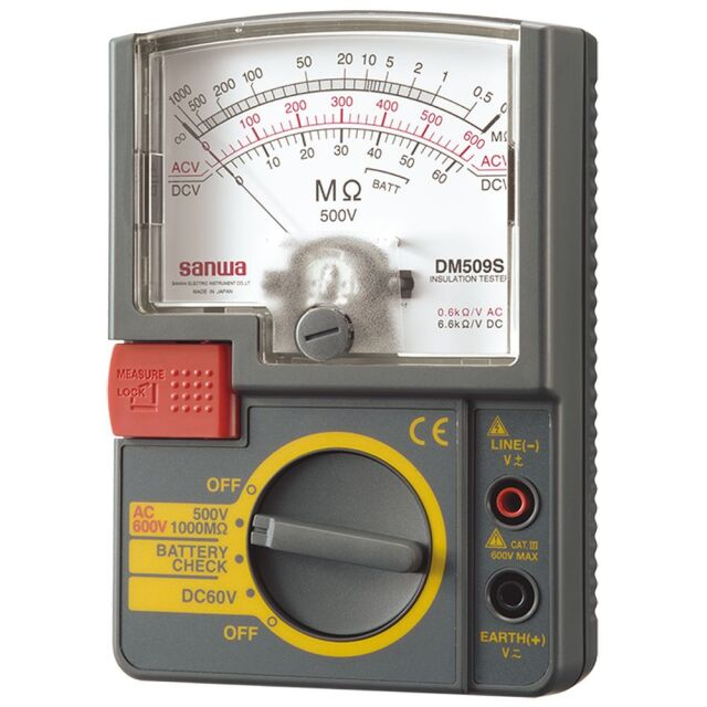 三和電気計器 絶縁抵抗計 500V/1000MΩ 単レンジ式 軽量設計 DM509S