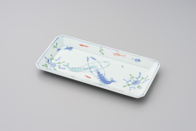 染付魚(骨)長角皿(中)