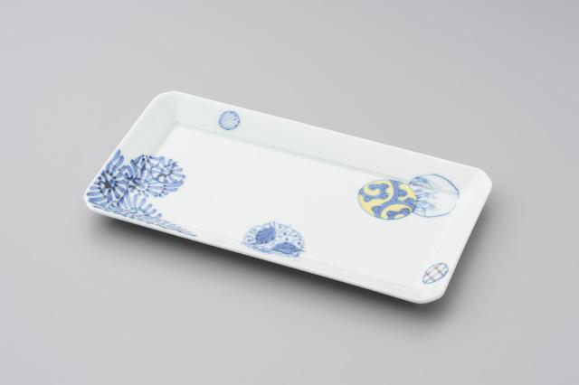 染錦蛸唐草丸紋長角皿(大)
