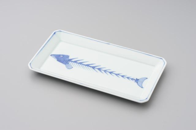 染付魚(骨)長角皿(大)