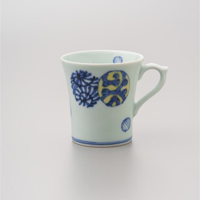染錦蛸唐草丸紋反マグカップ