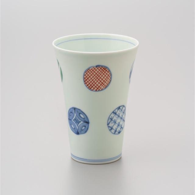 染錦八方丸紋薄手フリーカップ