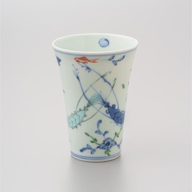 染錦双海老薄手フリーカップ
