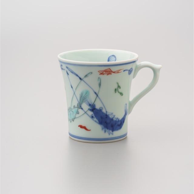 染錦双海老反マグカップ