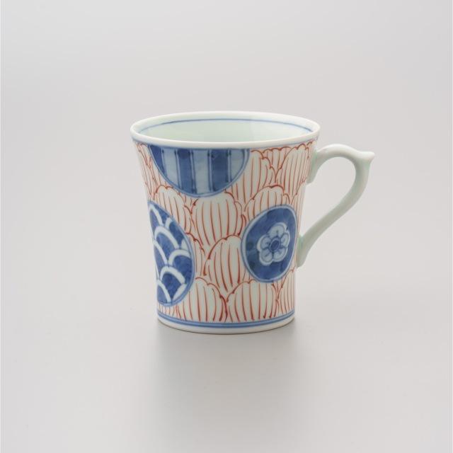 染錦丸紋牡丹反マグカップ