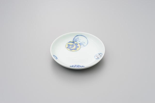 染錦蛸唐草丸紋4寸皿