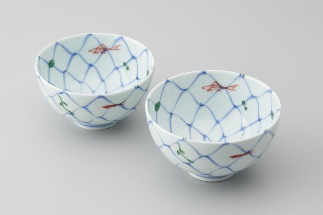 染錦網目魚紋段入茶付