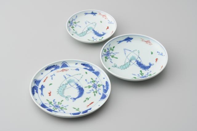 染錦双海老丸皿