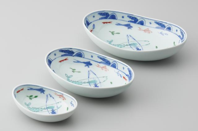 染錦双海老三日月鉢