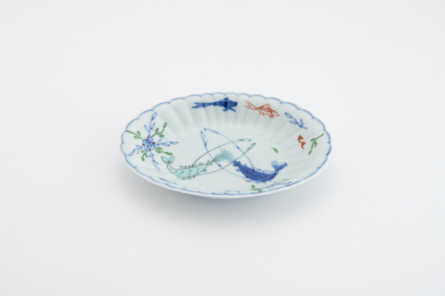 染錦双海老菊型小判皿