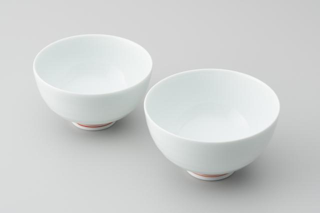 白磁段入茶付(高台朱線)