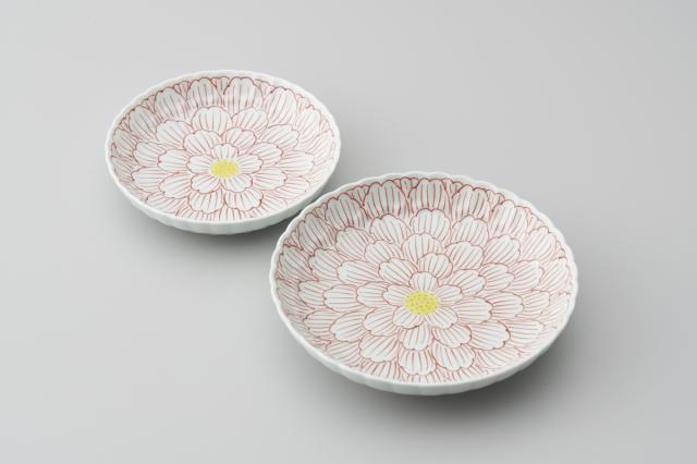 錦牡丹菊型皿