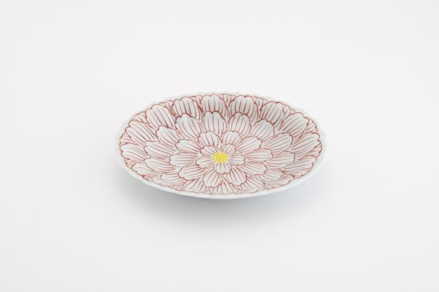 錦牡丹菊型小判皿