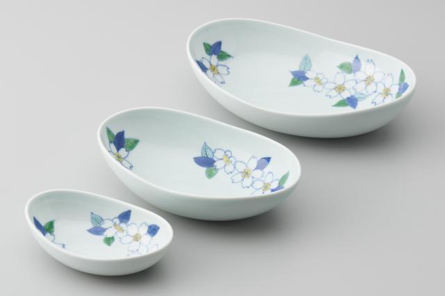 染錦桜三日月鉢