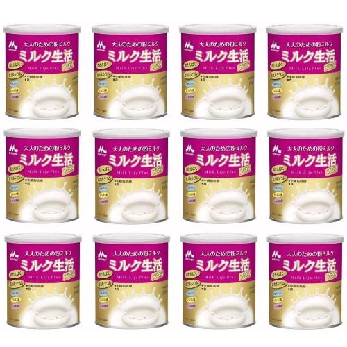 森永乳業 大人のための粉ミルク ミルク生活プラス 300g×12個
