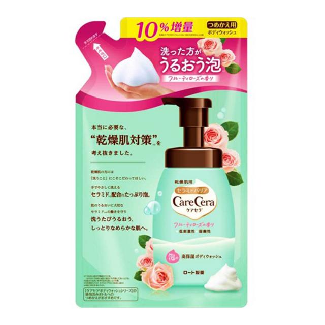 ケアセラ 泡の高保湿ボディウォッシュ フルーティローズの香り つめかえ用 385ml