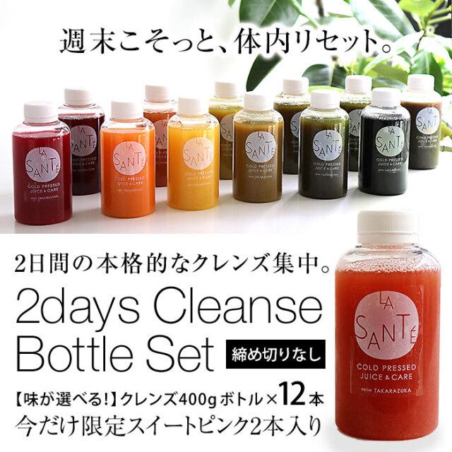 2DAYクレンズチャレンジセット【味が選べる!冷蔵ボトル400g×12本】2日間の集中クレンズに!