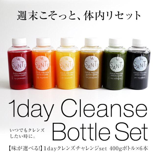 1DAYクレンズチャレンジセット【味が選べる!冷蔵ボトル400g×6本】週末クレンズにぴったり!