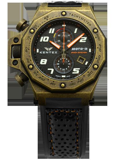 【送料無料】MOTO-R chronograph モトアールクロノグラフモデル ブロンズビンテージPVD加工×オレンジ(S787X-14)