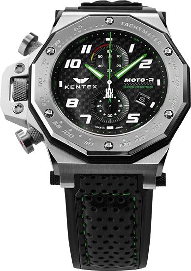 【送料無料】MOTO-R chronograph モトアールクロノグラフモデル シルバー×グリーン(S787X-03)
