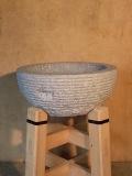 国産 御影石餅臼セット 檜材うす台付 3升