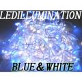 高輝度LEDイルミネーション100球 10m 50本連結可 ブルー&ホワイト
