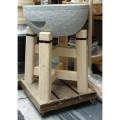 御影石餅臼セット 檜材うす台付