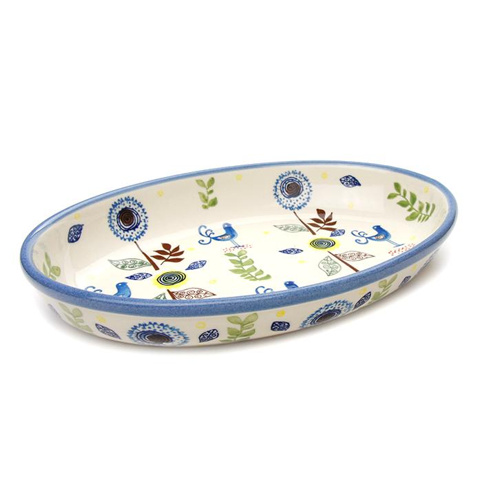 ポーランド陶器 オーブン皿・オーバル・大