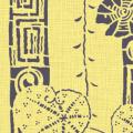 メラミン化粧板 バリエーション(京かたがみ) JC-10090K 4x8 桜に雷紋(菜の花色)