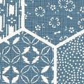 メラミン化粧板 バリエーション(京かたがみ) LJ-10100K 4x8 亀甲に小紋(藍色)