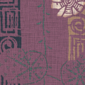 メラミン化粧板 バリエーション(京かたがみ) TJ-10091K 4x8 桜に雷紋(えんじ)