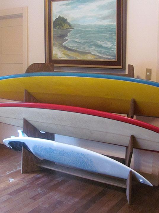 横置きタイプ木製ロングボードラック 3本用