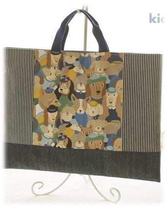 幼稚園保育園オーダーメイド入園グッズ【わんわんがいっぱい】絵本入れ 手さげ袋 レッスンバッグ