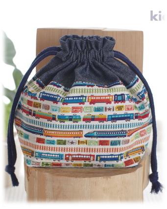 幼稚園保育園オーダーメイド入園グッズ【タイニートレイン】コップ入れ 歯ブラシ袋 巾着袋