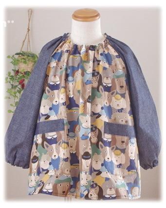 【わんわんがいっぱい】襟ゴム ラグラン袖 かぶりスモック 長袖スモック