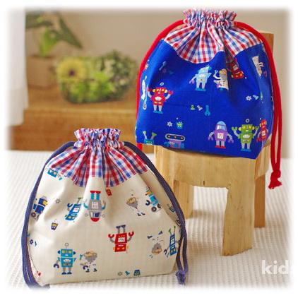 幼稚園保育園オーダーメイド入園グッズ【ロボットとおちゃめな博士】お弁当袋 ランチバッグ 給食袋