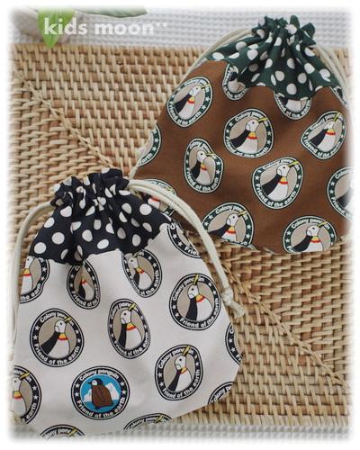 幼稚園保育園オーダーメイド入園グッズ【ペンギンさん】コップ入れ 歯ブラシ袋 巾着袋