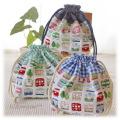 幼稚園保育園オーダーメイド入園グッズ【カラフル電車】お弁当袋 ランチバッグ 巾着袋