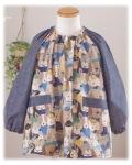 【わんわんがいっぱい】長袖スモック 襟ゴム ラグラン袖 かぶりスモック 日本製 オーダーメイド