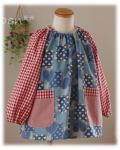 【デニムハート】長袖スモック 襟ゴム ラグラン袖 かぶりスモック 日本製 オーダーメイド