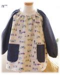 【ロボットの車工場】長袖スモック 襟ゴム ラグラン袖 かぶりスモック 日本製 オーダーメイド