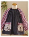 【トリコロール×車】長袖スモック 襟ゴム ラグラン袖 かぶりスモック 日本製 オーダーメイド