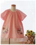 【国産良質のしあわせスモック】半袖スモック 襟ゴム ラグラン袖 かぶりスモック 日本製 オーダーメイド(ピンク)