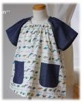 【恐竜の大行進】半袖スモック 襟ゴム ラグラン袖 かぶりスモック 日本製 オーダーメイド