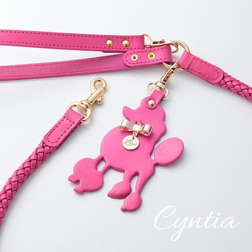 【Cyntia】リードショッキングピンク 首輪ML,L,XL用