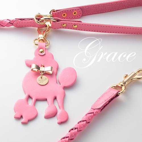 【Grace】リード ピンク 首輪ML,L,XL用